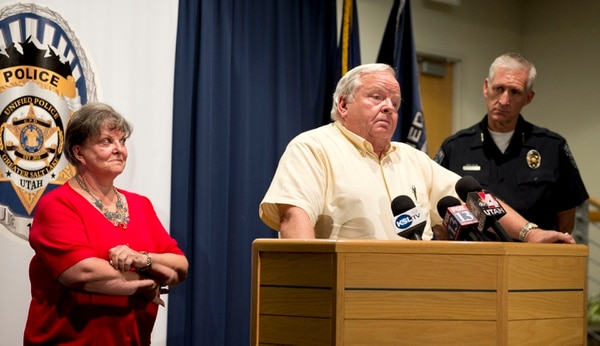 Lennie Mahler | The Salt Lake Tribune Jerold Johnson and Shirley England speak at a news conference after Unified Police solved the 1991 cold-case murder of their mother, Lucille Johnson. Thursday, Aug. 28, 2014.