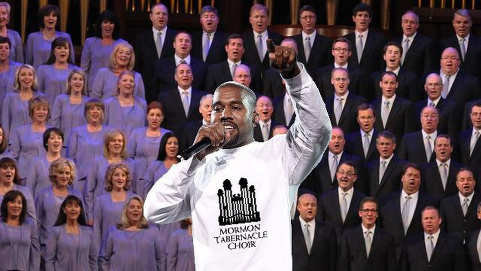 (Courtesy of The Alternate Universe) A photoshop created for an article in The Alternate Universe, showing Kayne West singing with the Choir at Temple Square.