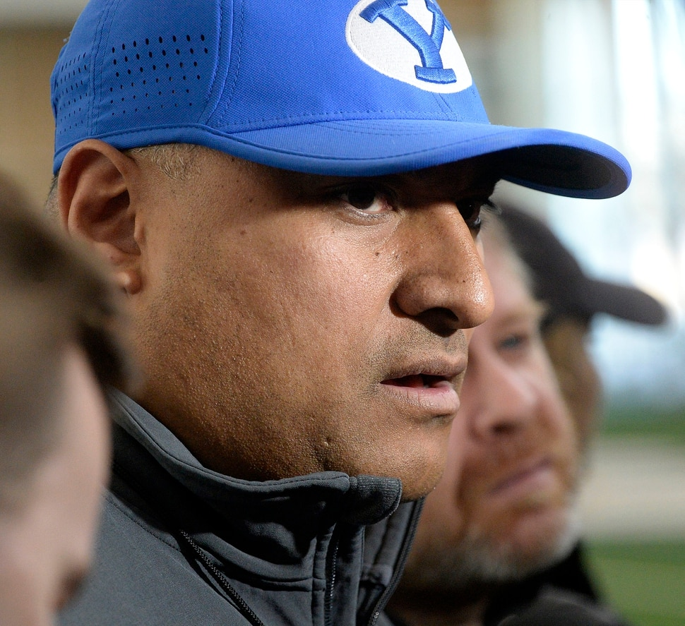 (Al Hartmann | The Salt Lake Tribune) BYU opened spring football camp on Monday March 5 in the indoor playing facility. Head Coach Kalani Sitake speaks to the media after the first day's practice.