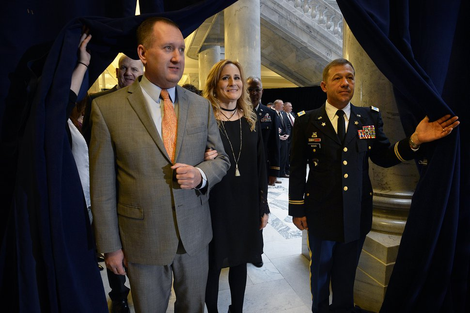 (Scott Sommerdorf | Tribune file photo) Utah Auditor John Dougall and his wife Sandy wait for their turn to join the procession at the State of Utah's Inaugural Ceremony in the Capitol rotunda, Wednesday, January 4, 2017.