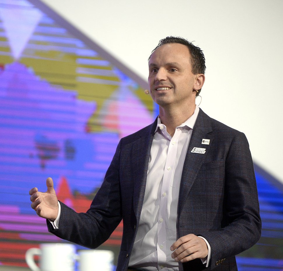 (Al Hartmann | The Salt Lake Tribune) Marcus Liassides, Sorenson Media, CEO speaks in the opening session to over 14,000 at the 2018 Silicon Slopes Tech Summit at the Salt Lake Convention Center Thursday Jan. 18.