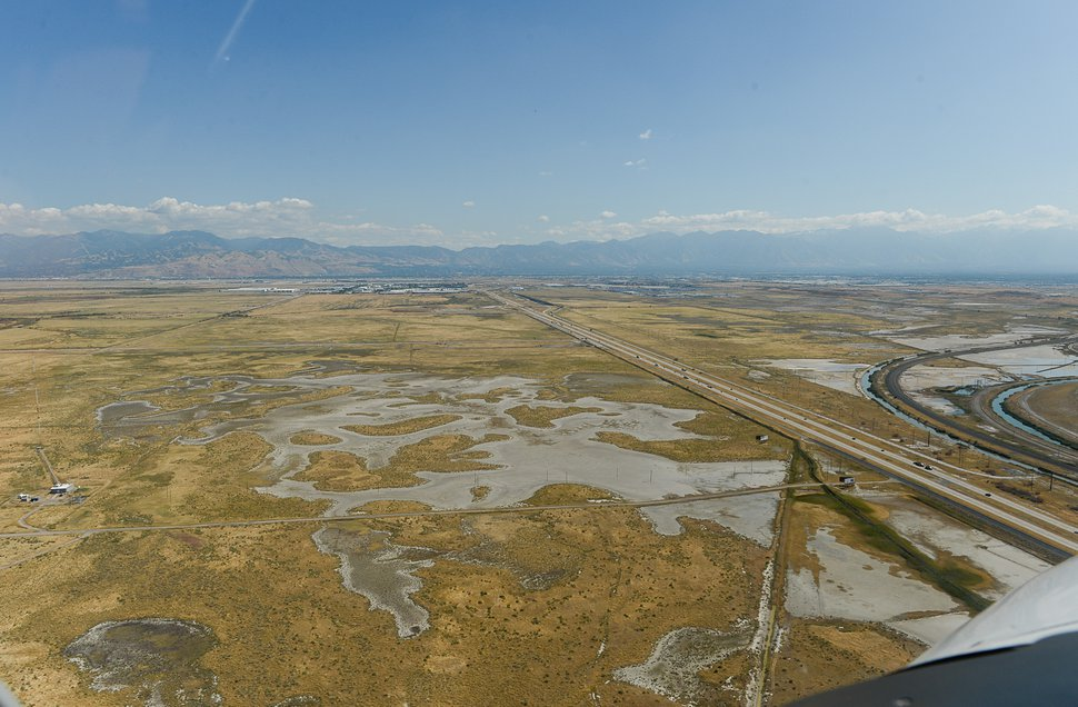 (Francisco Kjolseth | The Salt Lake Tribune) Aerial photos of the Salt Lake Valley including the new prison under construction, inland port area, Kennecott Copper tailings pond, refineries and recent Bountiful fire scar as seen on Sept. 12, 2019.