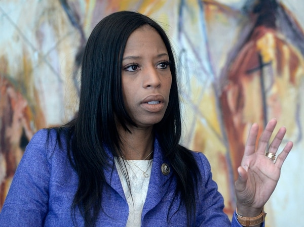 (Al Hartmann | The Salt Lake Tribune) Utah Congresswoman Mia Love speaks to the Salt Lake Tribune editorial board, Thursday, Feb. 22 2018.