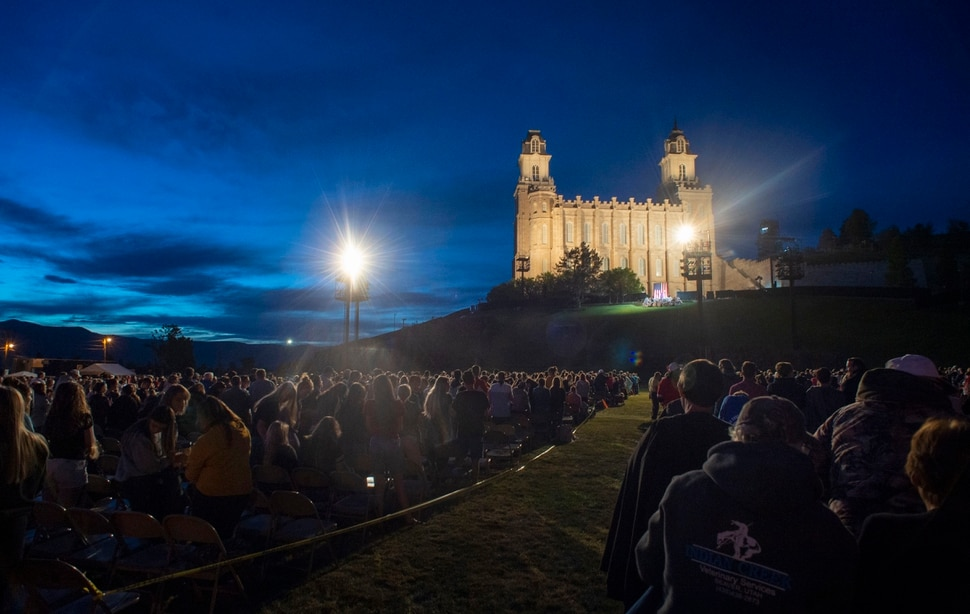 (Rick Egan | The Salt Lake Tribune) The Mormon Miracle Pageant gets underway at the foot of the Manti Temple Wednesday, June 12, 2019, during the dress rehearsal. The final run for the pageant continues through Saturday, June 22.