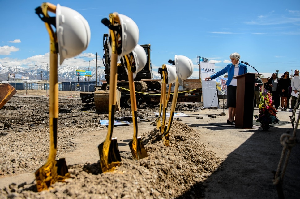 (Trent Nelson | The Salt Lake Tribune) Pamela Atkinson speaks at the groundbreaking ceremony for Pamela's Place Apartments in Salt Lake City on Wednesday April 17, 2019. The development, named after Atkinson, a Utah-based humanitarian and advocate for people experiencing homelessness, will serve as a 100-unit permanent supportive housing complex by combining affordable housing assistance with voluntary support services to address the needs of chronically homeless people.