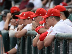 (Francisco Kjolseth  |  The Salt Lake Tribune)  The Utah dugout keeps an eye on the game as Utah and BYU renew their rivalry on the baseball diamond as they battle it out at Smith's Ballpark in Salt Lake City on Tuesday, May 14, 2019.