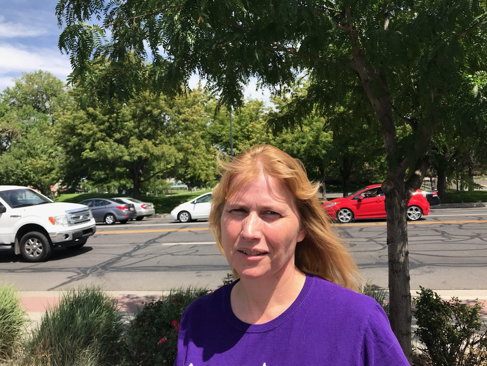 (Nate Carlisle | The Salt Lake Tribune) Shirley Hansen, seen here July 21, 2018, stands along 2100 South near State Street in Salt Lake City. Two of Hansen's daughters legally married when they were under the age of 18 to young men in the Kingston Group.
