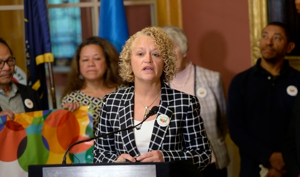 (Al Hartmann | The Salt Lake Tribune) Salt Lake Mayor Jackie Biskupski reads proclamation for