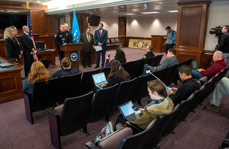 (Rick Egan | The Salt Lake Tribune) Orem Police Chief Gary Giles says a few words during a news conference on Wednesday, Jan. 23, 2019, at the Utah County Attorney's Office about Officer Joseph Shinners, who was killed on duty.