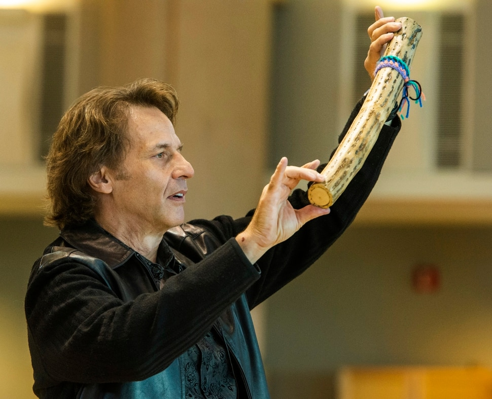 (Rick Egan | The Salt Lake Tribune) Kurt Bestor entertains the crowd at Shriners' Hospital, by playing instruments he has collected from around the world. Tuesday, Nov. 19, 2019.
