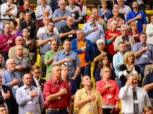 (Trent Nelson  |  Tribune file photo)  Delegates stand with hands over hearts during the national anthem at the Utah Republican Party's 2019 Organizing Convention at Utah Valley University in Orem. Five candidates filed to be the new chair of the GOP by Thursday's deadline, with the winner to be elected at the May 1 state party convention.