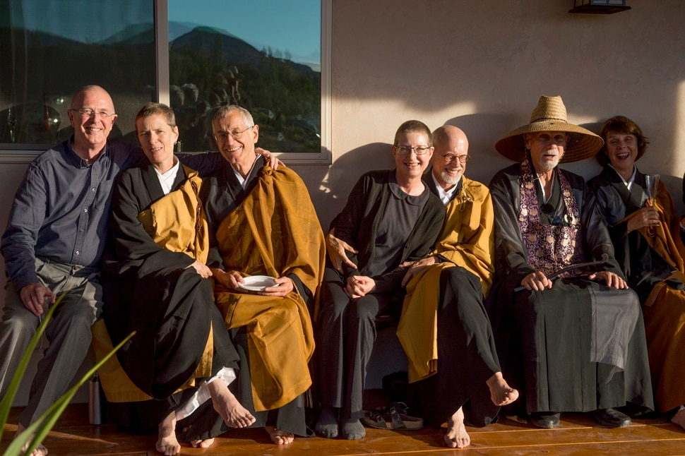 (Leah Hogsten | The Salt Lake Tribune) l-r Tenkei Coppens Roshi, Diane Musho Hamilton Sensei, Michel Genko Dubois, Tammy Myoho Gabrysch Sensei, Michael Mugaku Zimmerman Sensei, Genpo Merzel Roshi and Catherine Genno Pages Roshi after the dedication and eye opening ceremony at Torrey Zendo Meditation Center, Sept. 13, 2017, in Torrey. The Torrey Zendo, founded by Diane Musho Hamilton Sensei and Michael Mugaku Zimmerman Sensei, located near Capitol Reef National Park, had been seasonal but is now a year-round facility for study, practice and retreats.