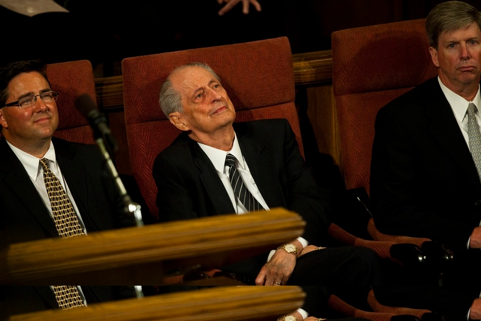(Chris Detrick | The Salt Lake Tribune) Elder Robert D. Hales, center, listens as the Men's Chorus sings during the funeral service for Arnold Friberg at the Assembly Hall on Temple Square Saturday, July 10, 2010.