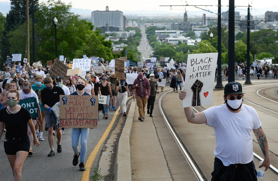 (Francisco Kjolseth | The Salt Lake Tribune) Demonstrators protesting against police brutality make their way to the University of Utah on Wednesday, June 3, 2020, in Salt Lake City, as the initially set 8 p.m. weeklong curfew was removed.