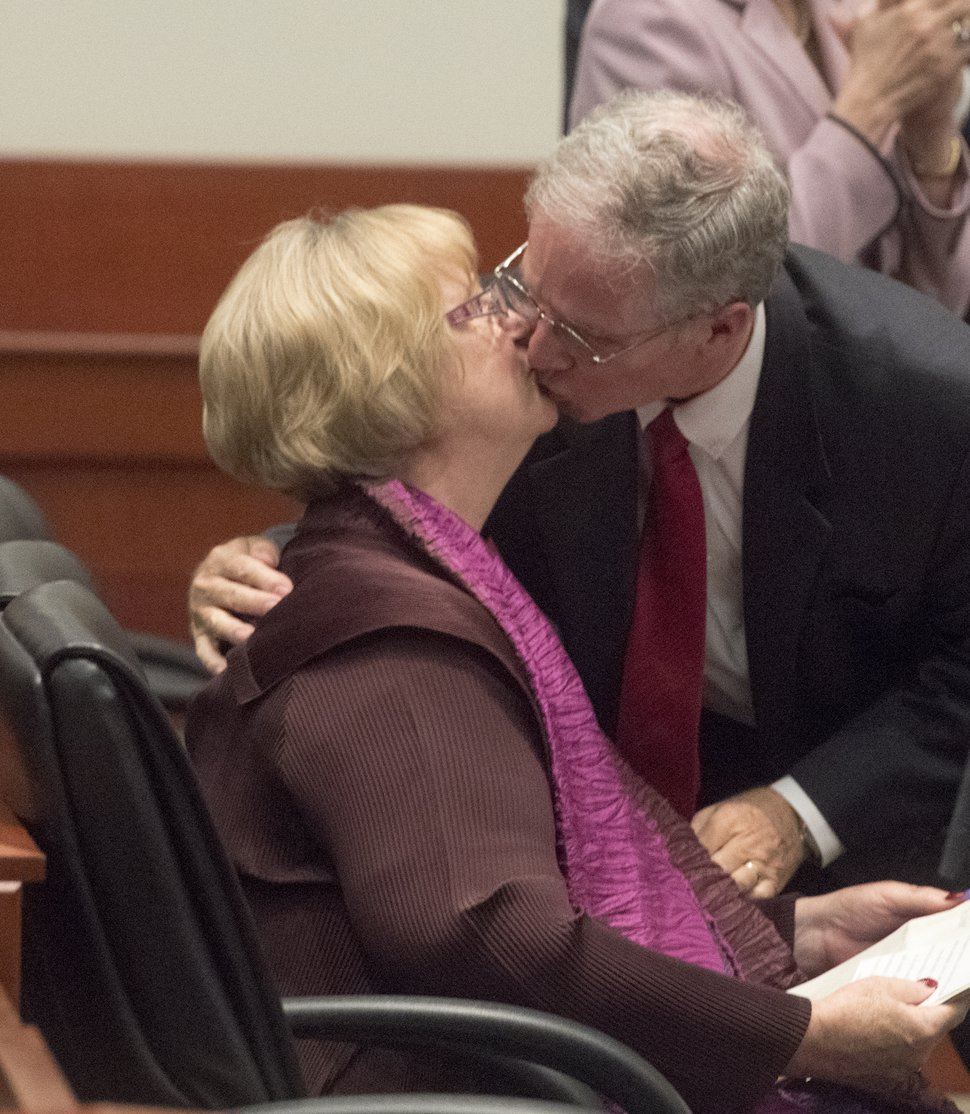 (Rick Egan | The Salt Lake Tribune) George H. Durham gives his wife Justice Christine M.Durham a kiss, after speaking at her retirement reception at the Matheson Courthouse, Monday, November 13, 2017.
