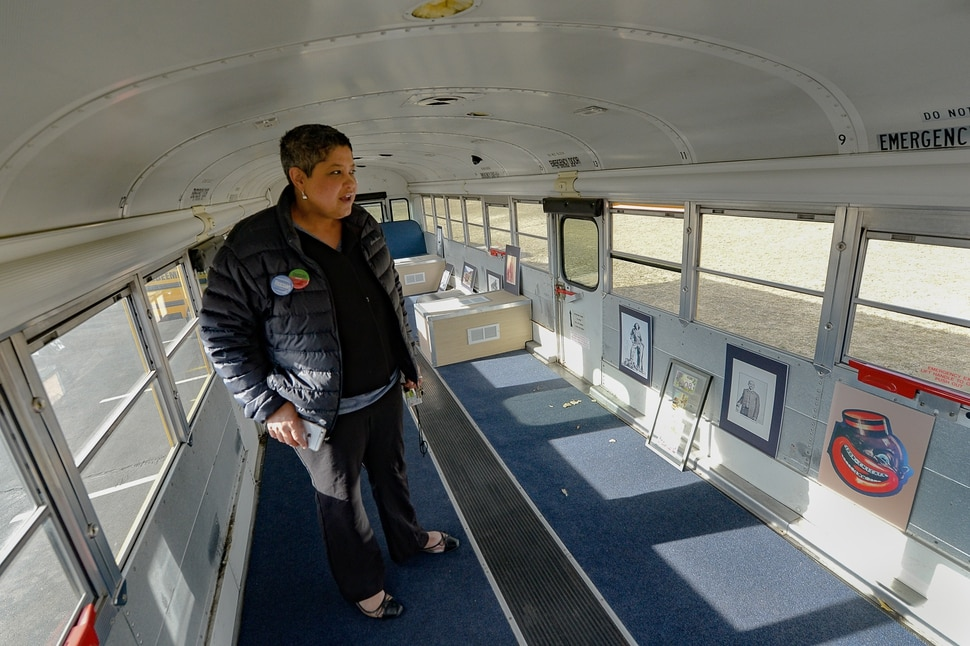 (Francisco Kjolseth | The Salt Lake Tribune) Lex Scott, leader of the Black Lives Matter movement in Utah, gives an update on Tuesday, Feb. 26, 2020, on plans to renovate a school bus into a mobile black history museum to visit schools and spots around the state.