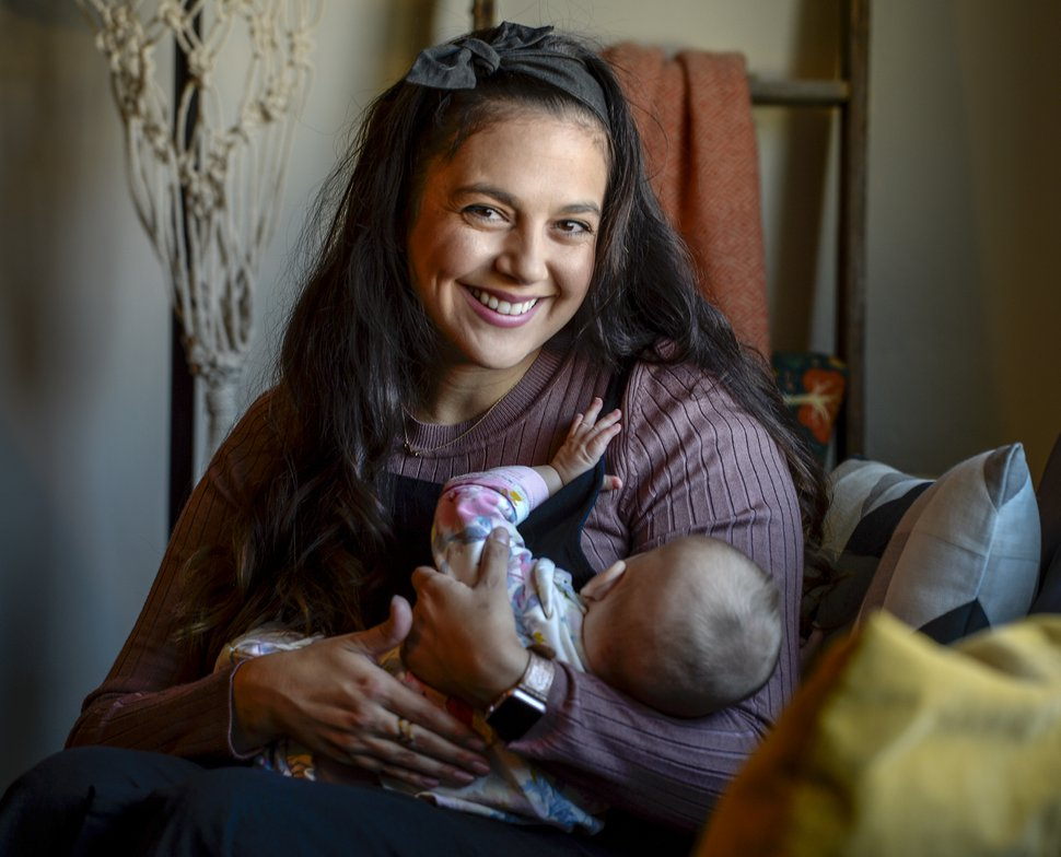 "(Leah Hogsten | The Salt Lake Tribune) ""I don't want young moms— new moms— to think this is the norm,"" said Evi Figgat, who suffered from maternal anxiety after having her two children."