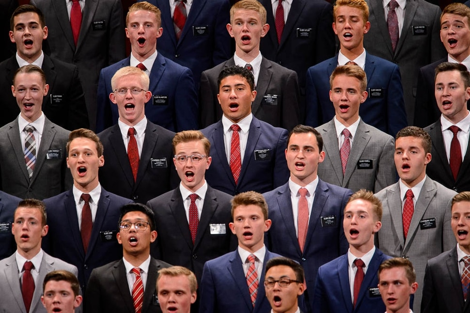 (Trent Nelson | The Salt Lake Tribune) A choir from the Missionary Training Center in Provo sings at the General Conference of The Church of Jesus Christ of Latter-day Saints in Salt Lake City, Saturday Oct. 6, 2018.