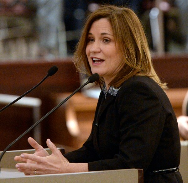 (Al Hartmann | The Salt Lake Tribune) Salt Lake County Councilwoman Jenny Wilson speaks on Monday, January 5 after being administered the oath of office.