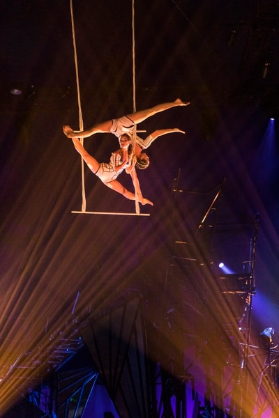 (Marie-Andrée Lemire   courtesy of Cirque du Soleil) A trapeze duo is one of the performers in Cirque du Soleil's show Bazzar, which will play in a tent in the parking lot of the Maverik Center in West Valley City, from May 24 to July 5, 2020.