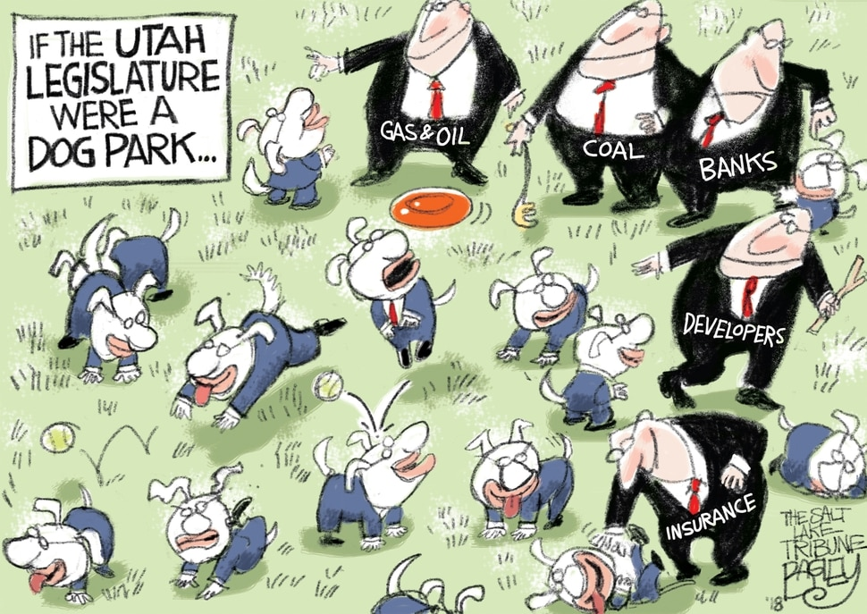 "This Pat Bagley cartoon, titled ""Who's a good legislature?"" appears in The Salt Lake Tribune on Monday, Jan. 22, 2018."