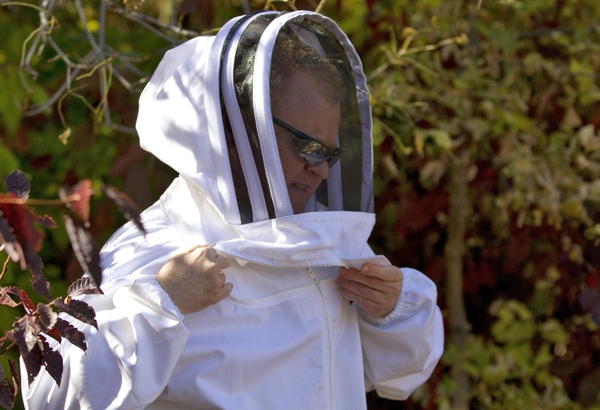 In a Monday, Oct. 17, 2017 photo, Vladimir Kulyukin puts on protective clothing prior to changing a battery in a BeePi system at a honeybee hive in Logan, Utah. As a beekeeper, Kulyukin is worried about the plight of the honeybee. As a computer scientist, he hopes to help curb colony failures by creating robotic hives. (John Zsiray/Herald Journal via AP)