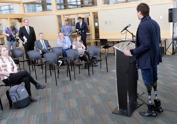 (Al Hartmann | The Salt Lake Tribune) MIT professor and and director of Biomechatronics research group Hugh Herr speaks at a news conference at Utah Valley University on Tuesday, March 7, 2018. He later spoke to the student body as part of the 2018 Presidential Lecture Series. He lost both his legs in a winter-related accident on Mount Washington in New Hampshire. Devastated by his amputations and the death of one of his rescuers, he dedicated his life to developing bionic limbs for amputees and augmenting human capability through bionics.