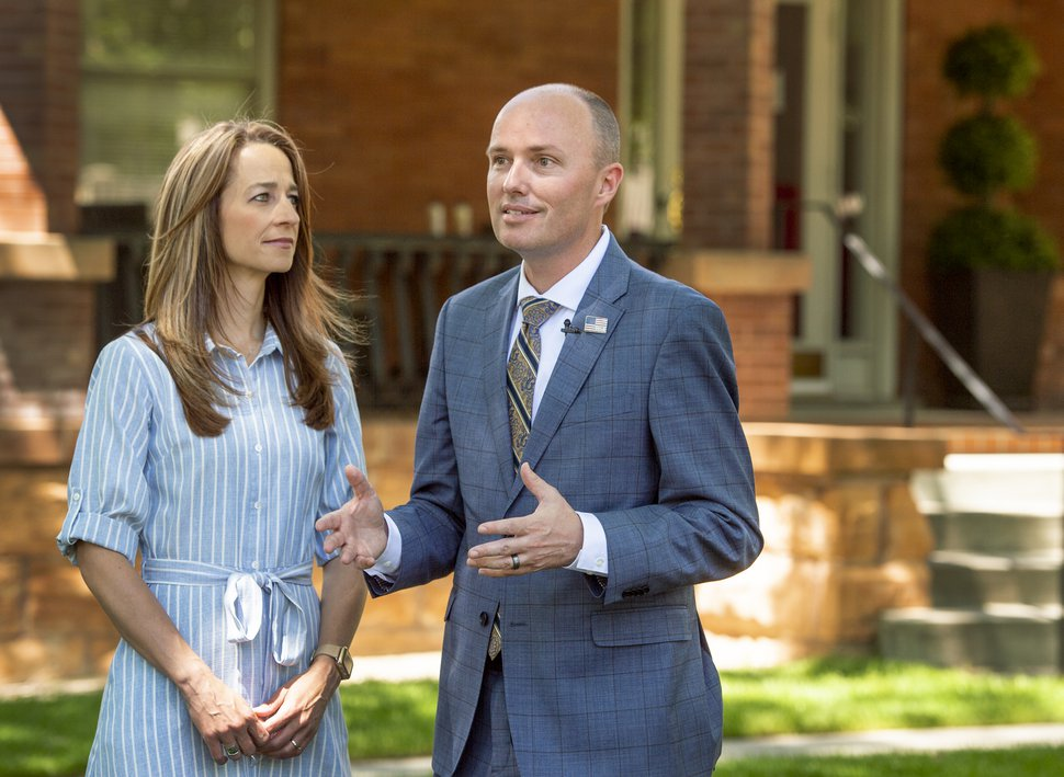 11Leah Hogsten | The Salt Lake Tribune Lt. Governor Spencer Cox, joined by his wife Abby, announced Tuesday, May 14, 2019 that he is running for governor.