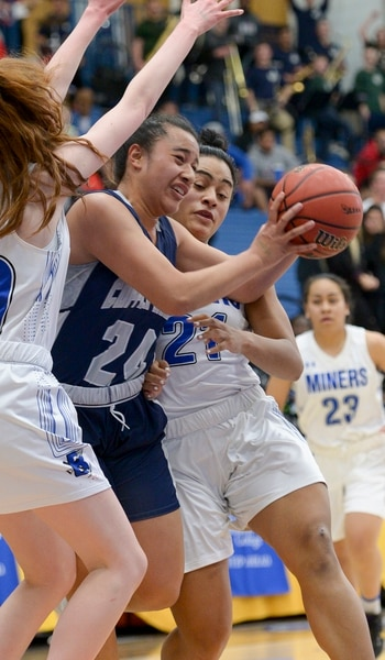 (Leah Hogsten | The Salt Lake Tribune) Bingham faces Copper Hills in their semifinal game of the 6A High School Girls' Basketball Tournament at SLCC in Taylorsville, Friday, Feb. 23, 2018.