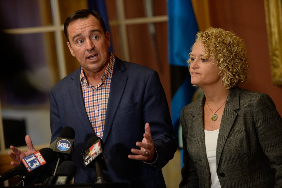 (Francisco Kjolseth | The Salt Lake Tribune) Salt Lake City Mayor Jackie Biskupski and House Speaker Greg Hughes hold a press conference at the City and County Building regarding Operation Rio Grande on Thursday, Aug. 31, 21017. Mayor Biskupski says Rio Grande St. will be closed to vehicle traffic on Friday.