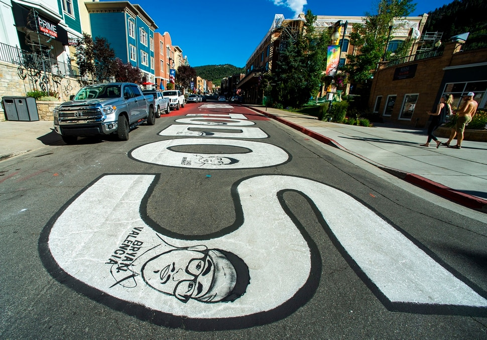 """(Rick Egan   The Salt Lake Tribune) Artists painted """"Justicia Para Todos"""" on Main Street in Park City over the weekend, Monday, July 6, 2020."""
