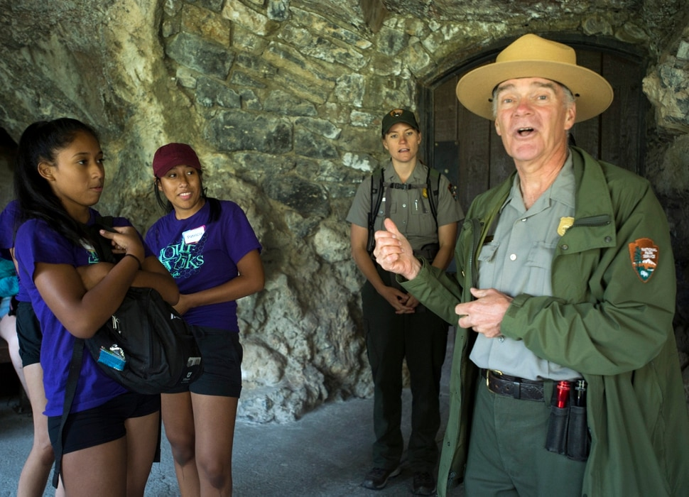 (Rick Egan | The Salt Lake Tribune) Estrella and Patricia Estrada, listen to Ranger Royce Shelley, as he tells the story of Timpanogos Cave, Thursday, August 3, 2017.