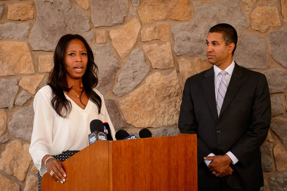 (Trent Nelson | The Salt Lake Tribune) FCC Chairman Ajit Pai and Rep. Mia Love speak following a roundtable in Eagle Mountain on Thursday Aug. 23, 2018. Rural broadband providers discussed