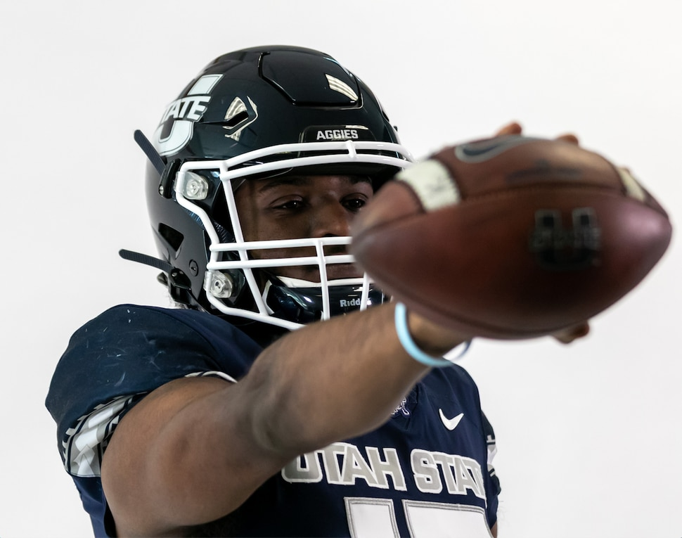 (Utah State Athletic Department). Jason Shelley, a transfer from the University of Utah, made an effort to connect with his new teammates at Utah State prior to being named the Aggies' starting quarterback for their opener at Boise State on Oct. 24, 2020.