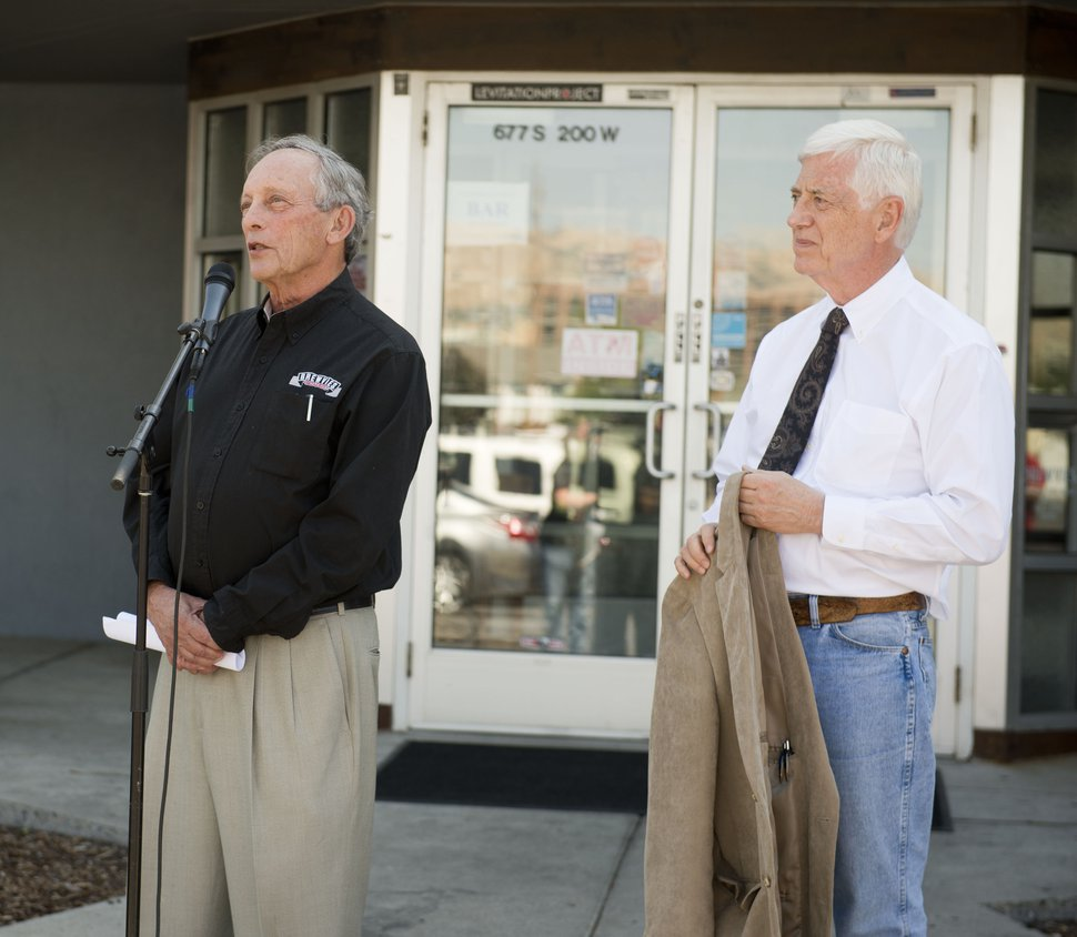 (Rachel Molenda | The Salt Lake Tribune) Norman Chesler, a member of Brewvies' management team and board, praises the recent ruling by a judge against the state's Department of Alcoholic Beverage Control, while attorney Rocky Anderson listens. DABC regulators threatened to fine Brewvies up to $25,000 and take away its liquor license in 2016.