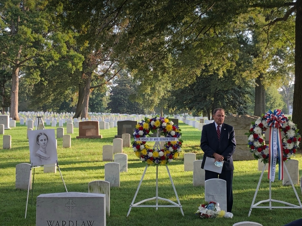 (Photo courtesy of the Utah Governor's Office) Governor Gary Herbert speaks at a ceremony Tuesday, Sept. 29, 2020, at Arlington National Cemetery in Washington, D.C., to celebrate Seraph Young, the first woman to vote under an equal suffrage law in the United States.