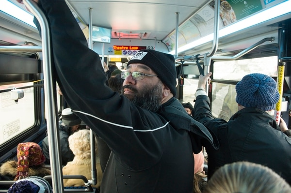 (Leah Hogsten | Tribune file photo) A packed shuttle bus in Park City during the 2017 Sundance Film Festival.