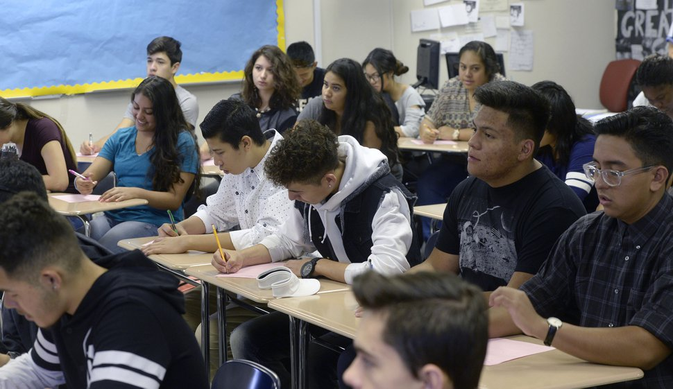 (Al Hartmann | Tribune file photo) An ACT preparation class at Granger High School with over 40 students. While forcing schools to pack classrooms in some cases, Utah's teacher shortage is also increasing competition among school districts as they try to recruit new staff.