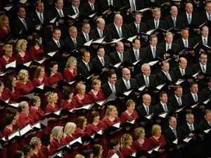 """(Francisco Kjolseth     Salt Lake Tribune file photo)  The Tabernacle Choir at Temple Square — shown here in 2019 — is planning its post-pandemic return to live performances, starting with the Sept. 19 broadcast of its long-running show """"Music and the Spoken Word."""""""
