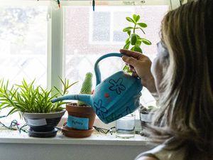 (Rick Egan | The Salt Lake Tribune) Jazmin May waters flowers in her Salt Lake City apartment near Liberty Park on June 4, 2021.