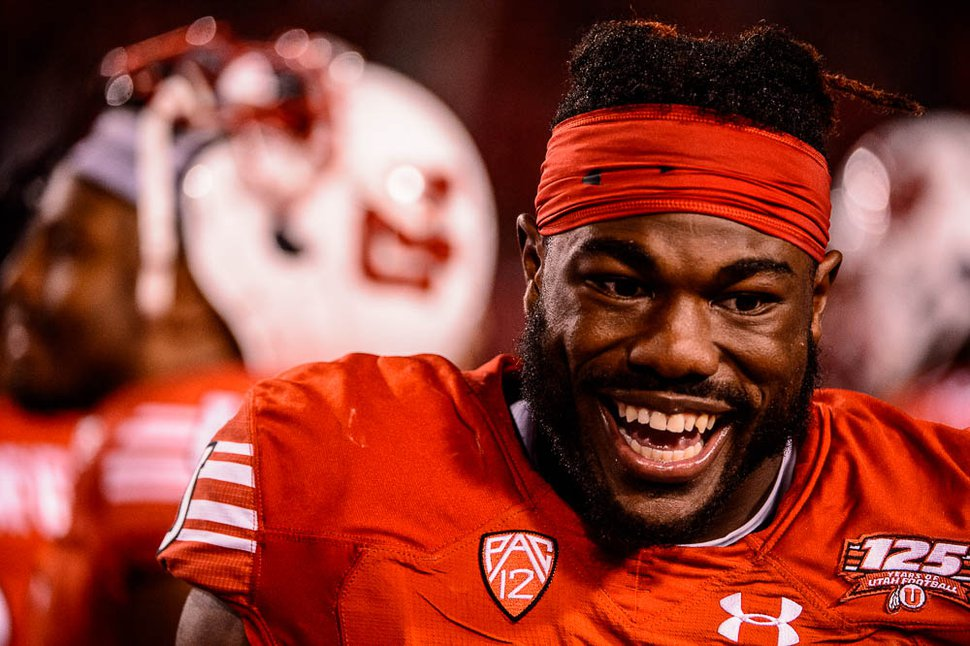 (Trent Nelson | The Salt Lake Tribune) Utah Utes running back Zack Moss (2) smiles on the sideline with a double-digit lead as the Utah Utes host the USC Trojans, NCAA football at Rice-Eccles Stadium in Salt Lake City, Saturday Oct. 20, 2018.