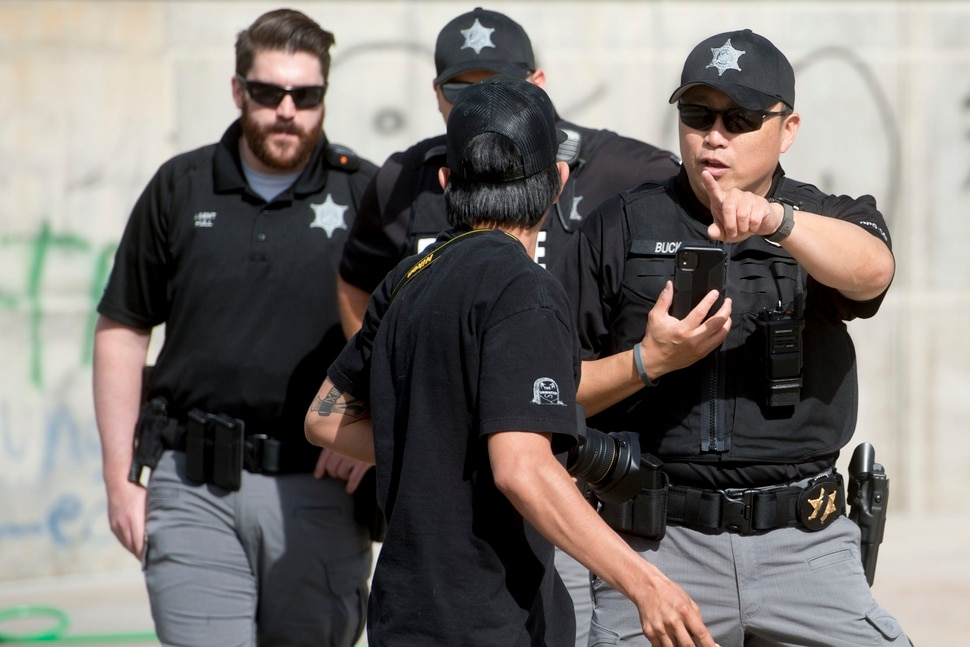 (Jeremy Harmon | The Salt Lake Tribune) Jovanny Villalobos is confronted by law enforcement officers from multiple agencies after he arrived at the Capitol in Salt Lake City on Sunday, May 31, 2020. A number of other people were at the Capitol at the time and no one else was confronted.