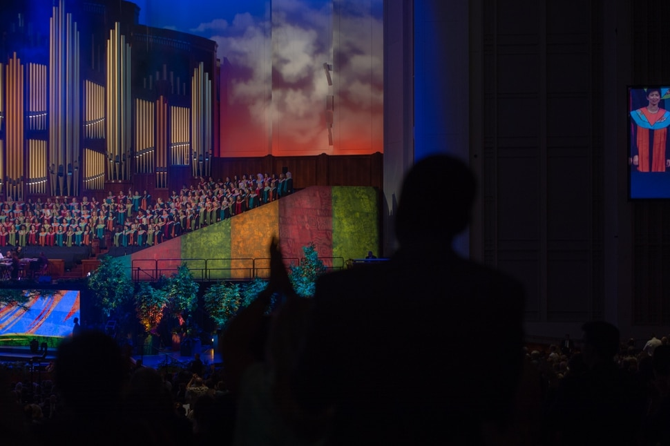 (Rachel Molenda | The Salt Lake Tribune) People stand as the Be One Chorus performs at the LDS Conference Center in Salt Lake City, Utah, on Friday, June 1, 2018.The First Presidency of the LDS Church sponsored Be One, an event to celebrate the 40th anniversary of the 1978 change that allowed black men and boys to hold the priesthood and black women and girls to enter LDS temples.