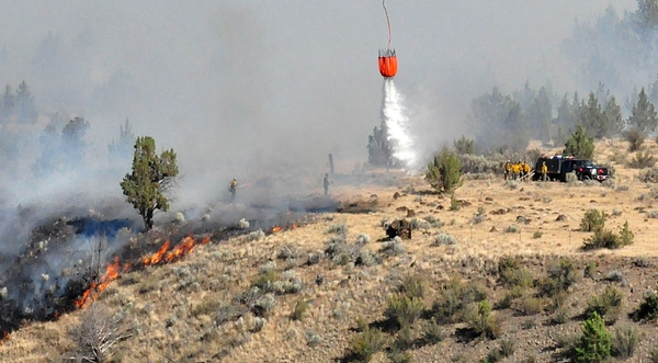 Members of the Warm Springs Hotshots watch a helicopter water drop as they battle a blaze in the hills above Warm Springs, Ore., July 1, 2018. Most Warm Springs Hotshots belong to one of the three Confederated Tribes of Warm Springs and live on the sparsely populated reservation about 100 miles southeast of Portland, Ore. (AP Photo/Tom James)