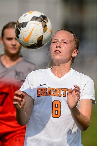 (Trent Nelson   The Salt Lake Tribune) Brighton's Hanna Olsen with the ball as Brighton hosts Alta, girls high school soccer, Thursday September 7, 2017.