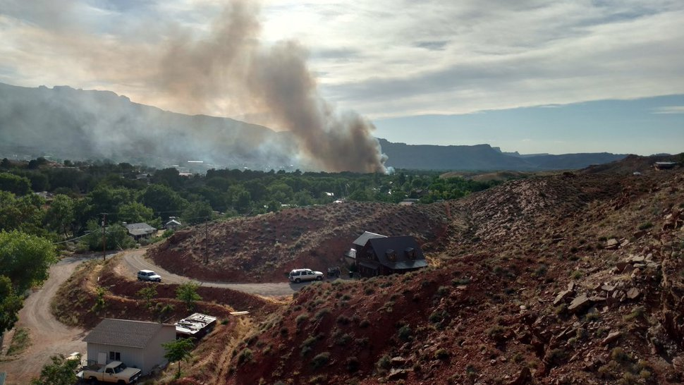 (Courtesy Skylar Johnson) Police say a June 12, 2018, fire in Moab has destroyed buildings and forced evacuations.