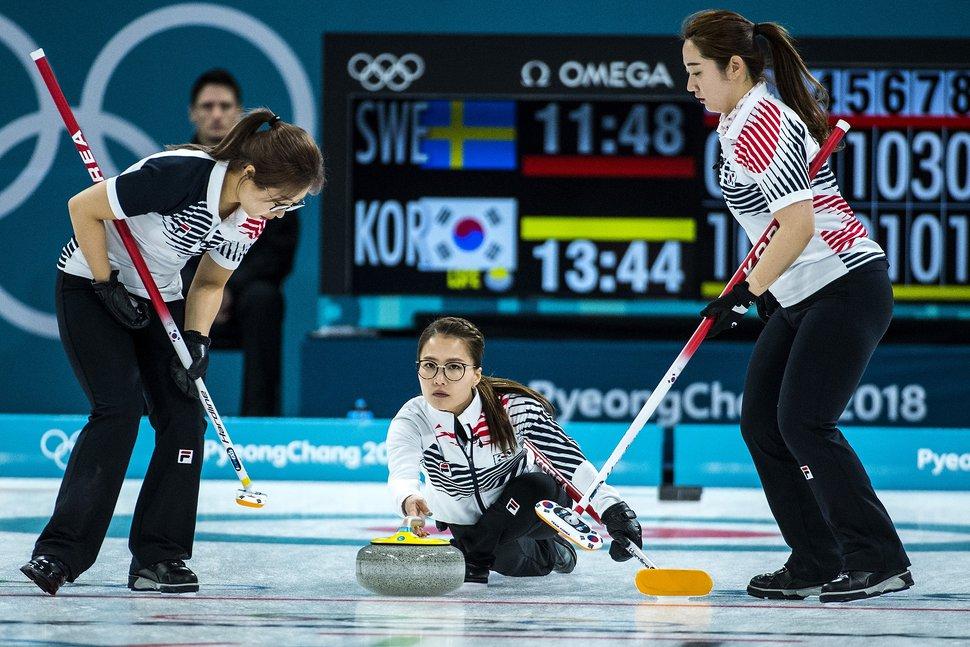 (Chris Detrick | The Salt Lake Tribune) Republic of Korea Skip EunJung Kim throws the stone during the Women's Gold Medal Game at Gangneung Curling during the Pyeongchang 2018 Winter Olympics Sunday, Feb. 25, 2018. Sweden defeated Republic of Korea 8-3.