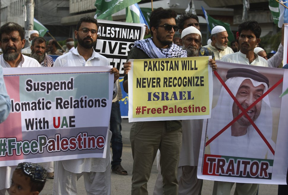 (Fareed Khan | AP) Supporters of the Pakistani religious party Jamaat-e-Islami, participate in a rally to denounce the United Arab Emirates-Israeli deal to establish full diplomatic ties between the two countries, in Karachi, Pakistan, Sunday, Aug. 16, 2020.