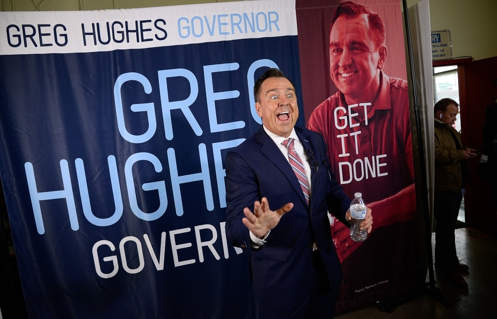 (Francisco Kjolseth | The Salt Lake Tribune) Former House Speaker Greg Hughes becomes animated as he speaks with the media announcing his campaign for governor at Dee's Automotive in Murray on Wednesday, Jan. 8, 2020.