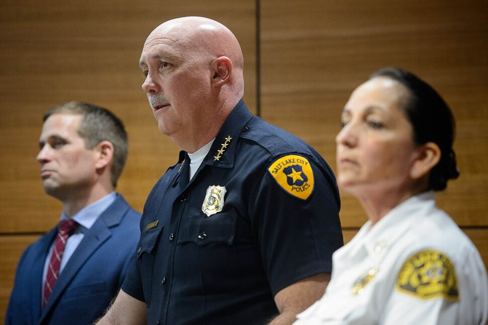 (Trent Nelson | The Salt Lake Tribune) Brian Redd, Utah Department of Public Safety, Salt Lake City Police Chief Mike Brown, and Salt Lake County Sheriff Rosie Rivera at a news conference in Salt Lake City on Tuesday April 9, 2019 addressing a crime spree and shootout the day before.